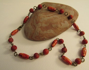 1939 -Necklace, Wood, Coral and Metal