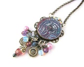 Angel Necklace OOAK Altered Metal Polymer Clay Mixed Media - Deep Muted Purple Maroon Pink Silver