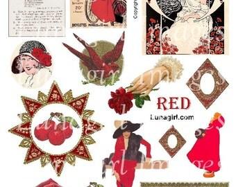 RED digital collage sheet DOWNLOAD vintage images Victorian Edwardian altered art ephemera roses birds flappers girls cherries frames