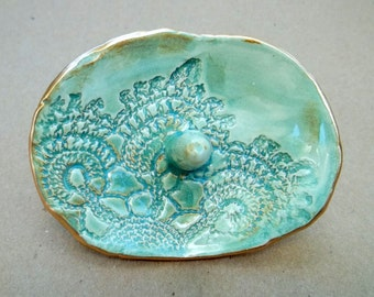 Small Ceramic Pale Sea green Lace Ring Holder
