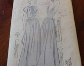 Vintage 40s Butterick 4652 Misses' Full Nightgown with Bed Jacket Sewing Pattern Unprinted size 16 B 34