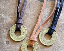 Vintage Gambling Token Necklace - Mens Coin Necklace - Candy Token - Choose Your Cord Color