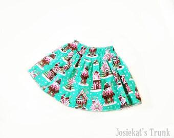 Christmas Skirt - Christmas Peppermint Skirt - Girl Christmas Skirt - Holiday Twirl Girl - Tween Gingerbread House 4 5 6/6X 7/8 10 12 14 16