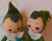 2 Cute Green Vintage Japan Pixie Ornaments