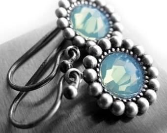 SALE - Seafoam Crystal Earrings, Swarovski Crystal Pale Aqua Mint Green Crystal Earrings, Vintage Style Affordable Bridesmaid Jewelry