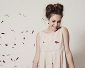 Scalloped Woman Dress - Natural Tencel - Pleated Baby Blush Pink Doll Dress - Eco Friendly Blush Pink or Black Dress