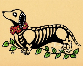 Day of the Dead Dog DACHSHUND Dia de los Muertos Art Print 5 x 7, 8 x 10 or 11 x 14 - Choose your own words - Donation to Austin Pets Alive