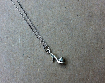 Dainty Sterling Silver Shoe Charm Pendant Necklace. High heel, Pump.  Gift for Her