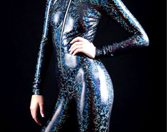 The Original Astral Skin, Black On Black Rainbow Holographic Wet Look Bodysuit