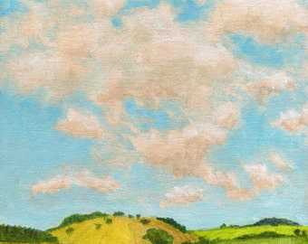 Original Landscape Painting 8x8 on Canvas Clouds and Summer Farmland Pastures Forest Hills Sky