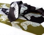 Gentlemen Dinosaurs Necktie - Dinosaur Tie, Men's Necktie, Paleontology Science Gift
