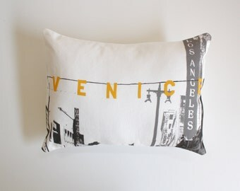 Venice Beach California Pillow - Venice Beach Sign - California throw pillow - yellow and gray decorative pillow