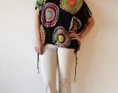 Black Women's Sweater Vest - Crochet ,Light Silky Yarn