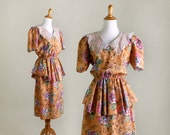 Vintage 80s does 40s Dress - Mustard Yellow Floral Peplum Dress - Small