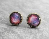 Space Earring Studs,Galaxy Earrings,Astronomy Jewelry,Nebula Earring Posts,Pink Purple Galaxy Earrings,Space Jewelry (E031)