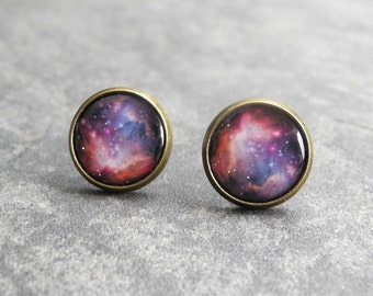 Space Earring Studs,Galaxy Earrings,Astronomy Jewelry,Nebula Earring Posts,Pink Purple Galaxy Earrings,Space Jewelry (E031)