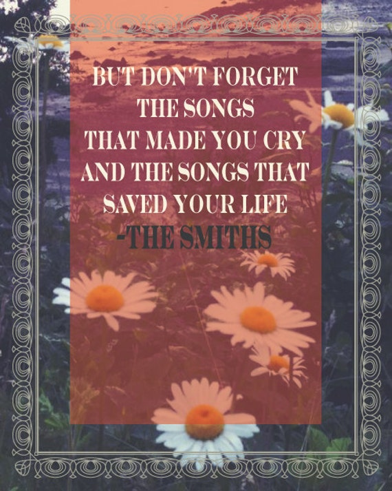 THE SMITHS Lyric Poster with Daisies - Typography Art Print