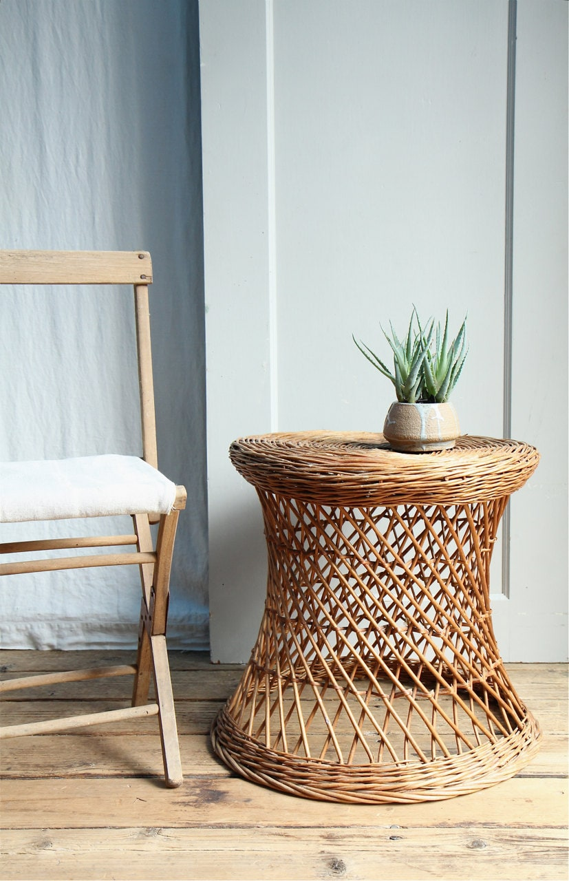 Vintage Wicker Side Table Plant Stand