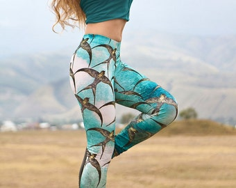 Leggings with swallows original art in Aqua, digital print, super comfortable, perfect Valentine gifts.