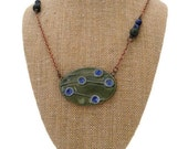 Handmade Jewelry Design Asymmetrical Necklace Earthy Layering Necklace Ceramic Stone Green and Blue Necklace Bohemian Jewelry Handcrafted