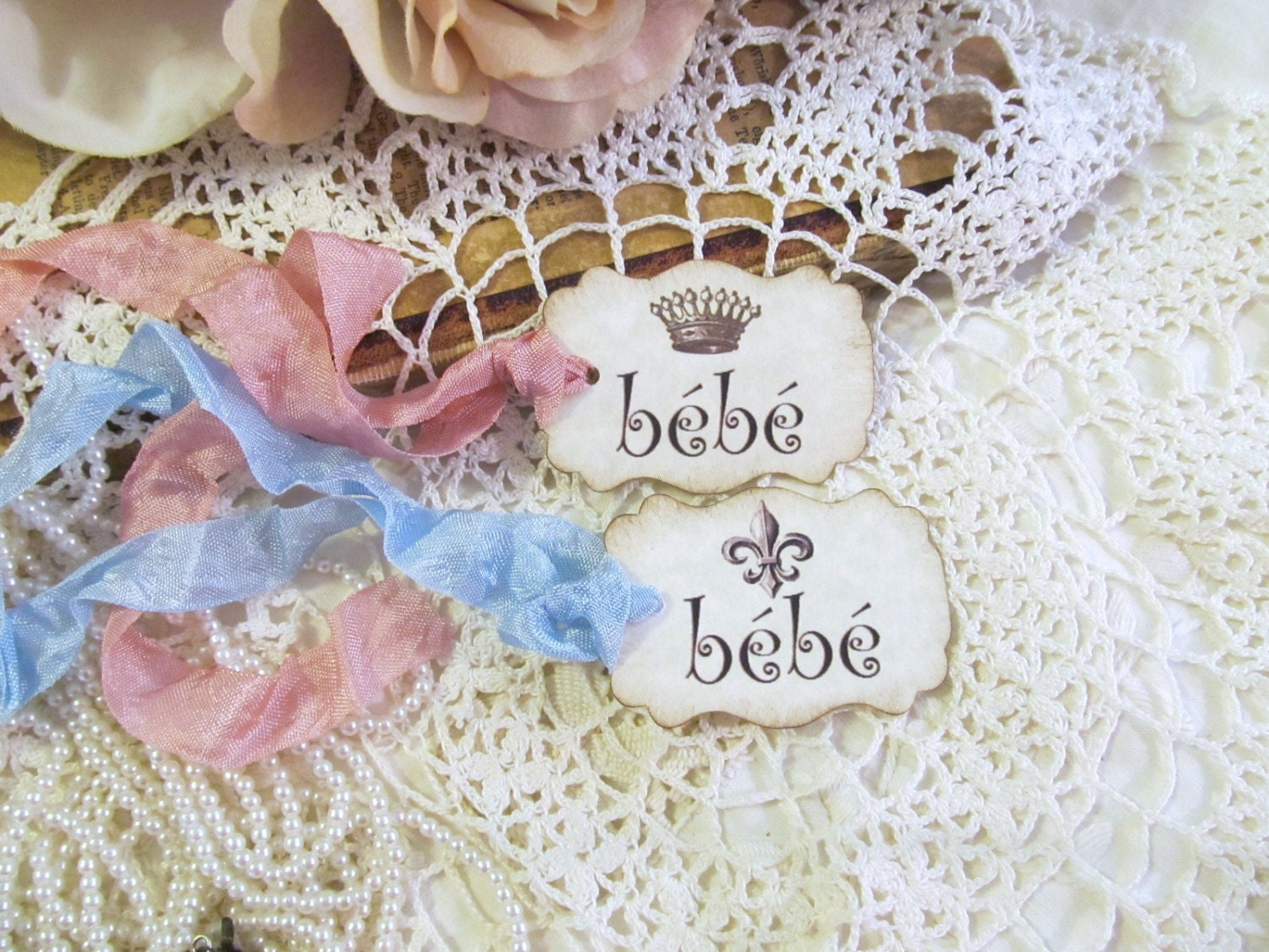 French Baby Gifts Australia : French baby bebe shower favor tags with ribbons set of