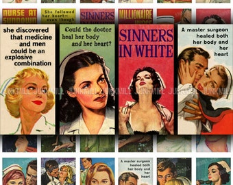 "LET'S PLAY Doctor - Digital Printable Collage Sheet - Naughty Nurses & Steamy Romance, Retro Medical Pulp Fiction, Domino Tile 1"" X 2"""