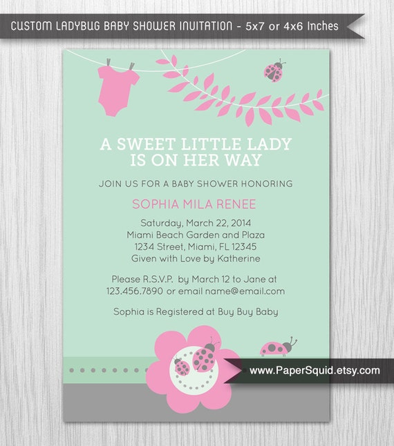 Ladybug Baby Shower Invitation Mint Pink Gray By Papersquid