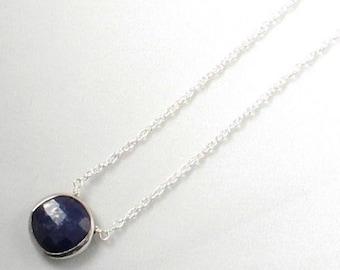Blue Sapphire Necklace Genuine Sapphire Necklace Sterling September Birthstone Real Sapphire Necklace Precious Gemstone BZ-P-105-Sapph/s