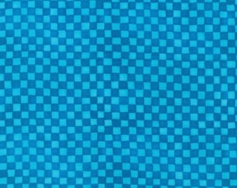 Checkerboard Turquoise Wondertones Blank Quilting Fabric 1 yard