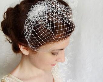 mini birdcage veil, white wedge wedding veil, small bird cage bridal veil - TESSIE - bridal hair accessories
