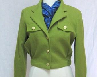 Vintage military style cropped waist jacket Size 6 Bill Blass Blassport Olive green wool Made in USA