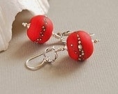 Red Beaded Earrings, Artisan Lampwork, Organic, Etched, Sterling Silver - POPPY