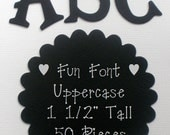"CUSTOM BLACK LETTERS - 1.5"" Tall - Fun Serif Font - Choose from Chipboard or Cardstock Die Cut Letters"