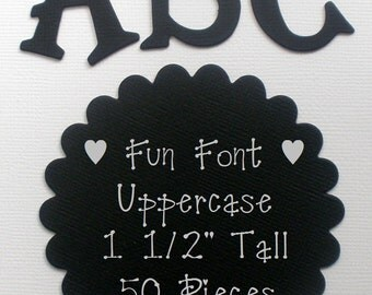 """CUSTOM BLACK LETTERS - 1.5"""" Tall - Fun Serif Font - Choose from Chipboard or Cardstock Die Cut Letters"""