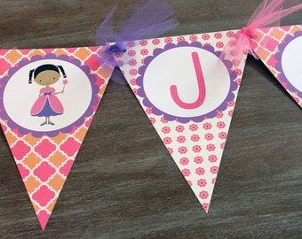 Pink and Purple Girls Happy Birthday African American Banner Printable PDF
