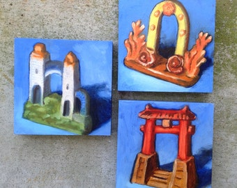 Aquarium Gates, Set of 3 paintings of vintage 'Made in Japan' ceramics