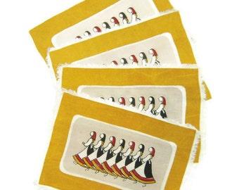 Vintage Scandinavian Placemats Set of 4 Mid Century Dancers at Harvest Time