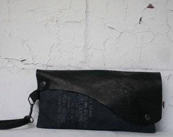 079 Black Leather Wristlet Clutch Bag , Text Gray Canvas Handbag