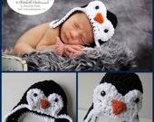 Newborn Photo Prop, Baby Penguin Hat,  Crochet  Baby Hat, Bomber Hat, Newborn Photography, Size Newborn