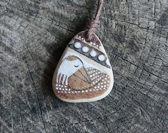 Healing Shard Necklace - Brown Beach Pottery Bird