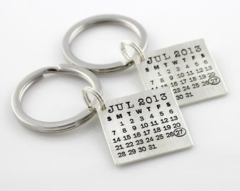 HIS and HERS Mark Your Calendar Keychains hand stamped and personalized sterling silver key chains