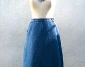 1970s Denim Wrap Skirt // Jean Skirt // Indigo