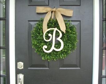 Monogram Boxwood Wreath, Boxwood Monogram Wreath with Burlap Bow, Housewarming Gift, Wedding Wreath 20 INCH