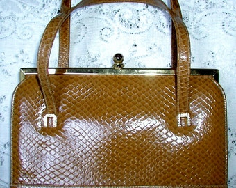 SALE ... Vintage Embossed Snakeskin Look Hard Body Handbag