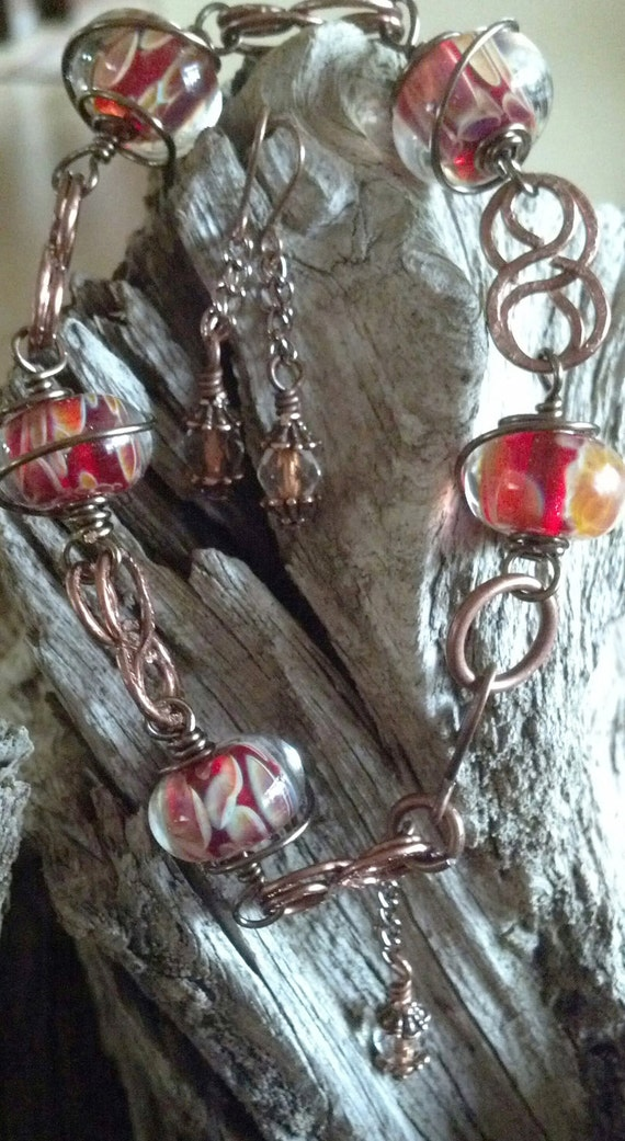 Wire Wrapped Copper & Red Borosilicate Glass Bracelet with Earrings