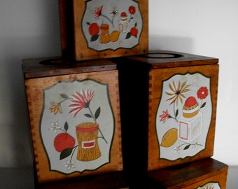 Canister Set Vintage Woodpecker Products 4 Canisters & 1 Napkin Holder Mid Century 1950s Farmhouse Rustic  Some Wear See Description