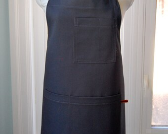 Grey Cotton Twill Shop Waiter Chef's Apron, sturdy cotton apron with pockets