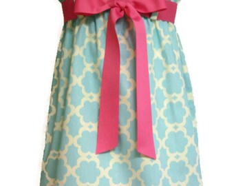 Zadee Dress... Kumari Garden Tarika Blue Fabric by Dena Fishbein....Choice of Interchangeable Ribbon Belt... Girls Sundress