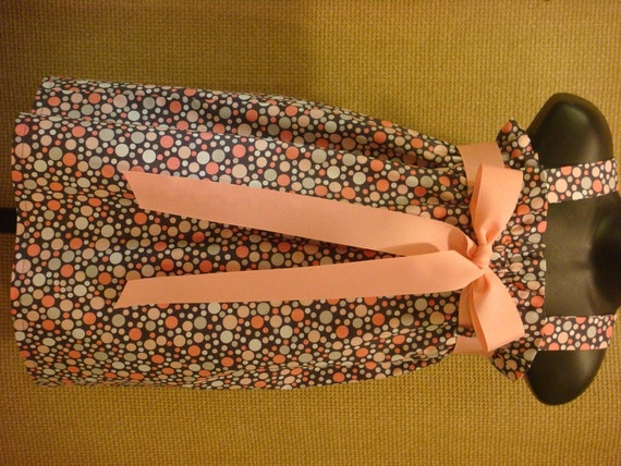 LAST ONE SALE - Size 18m - Pink and Gray Polka Dot Dress with Pink Ribbon Belt