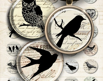 1 inch (25mm) and 1.5 inch size images LITTLE EPHEMERA BIRDS Digital Collage Sheetfor glass and resin pendants bottle caps round bezel trays